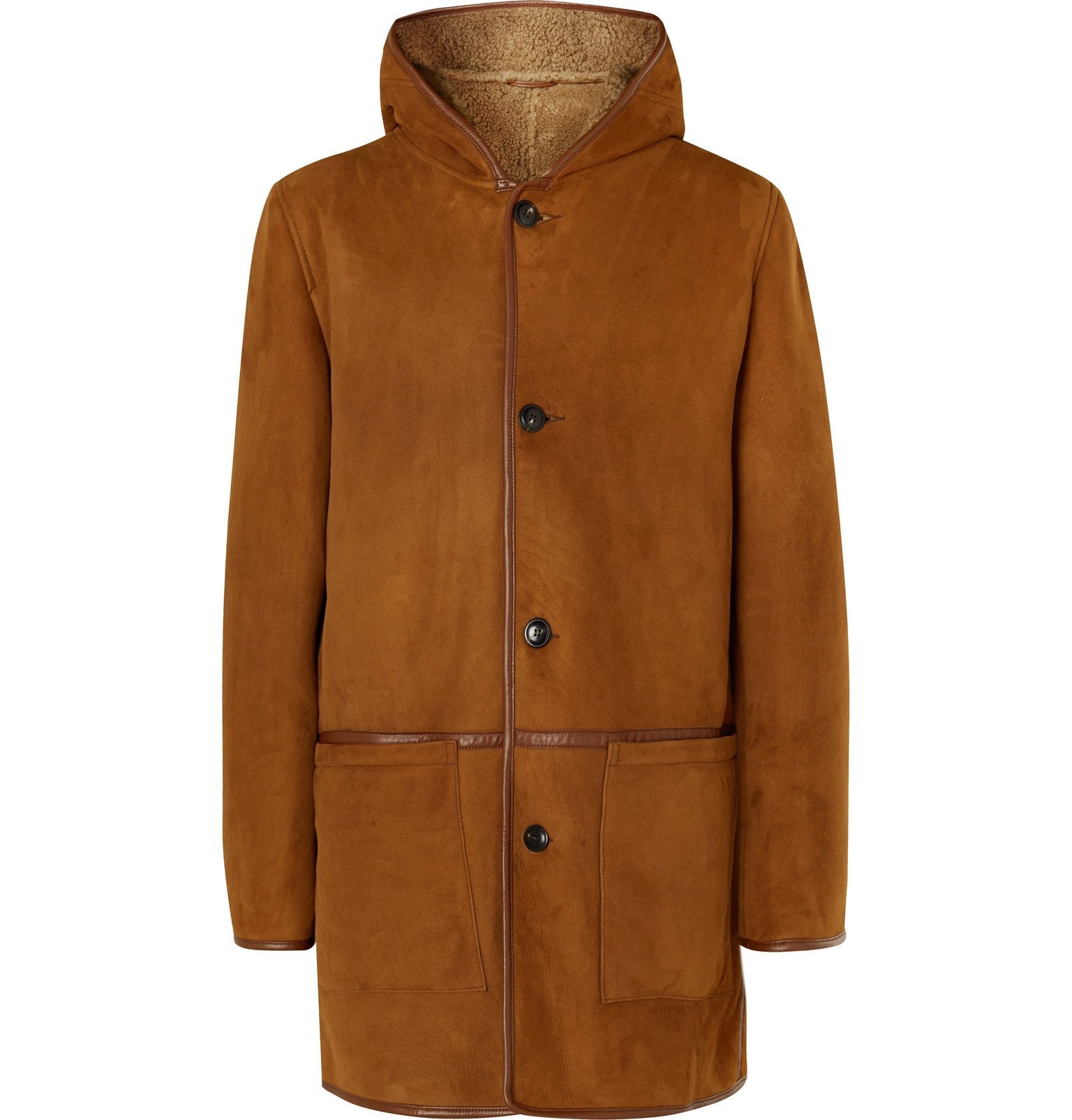 Photo: YMC - Beat Generation Leather-Trimmed Shearling Hooded Coat - Brown