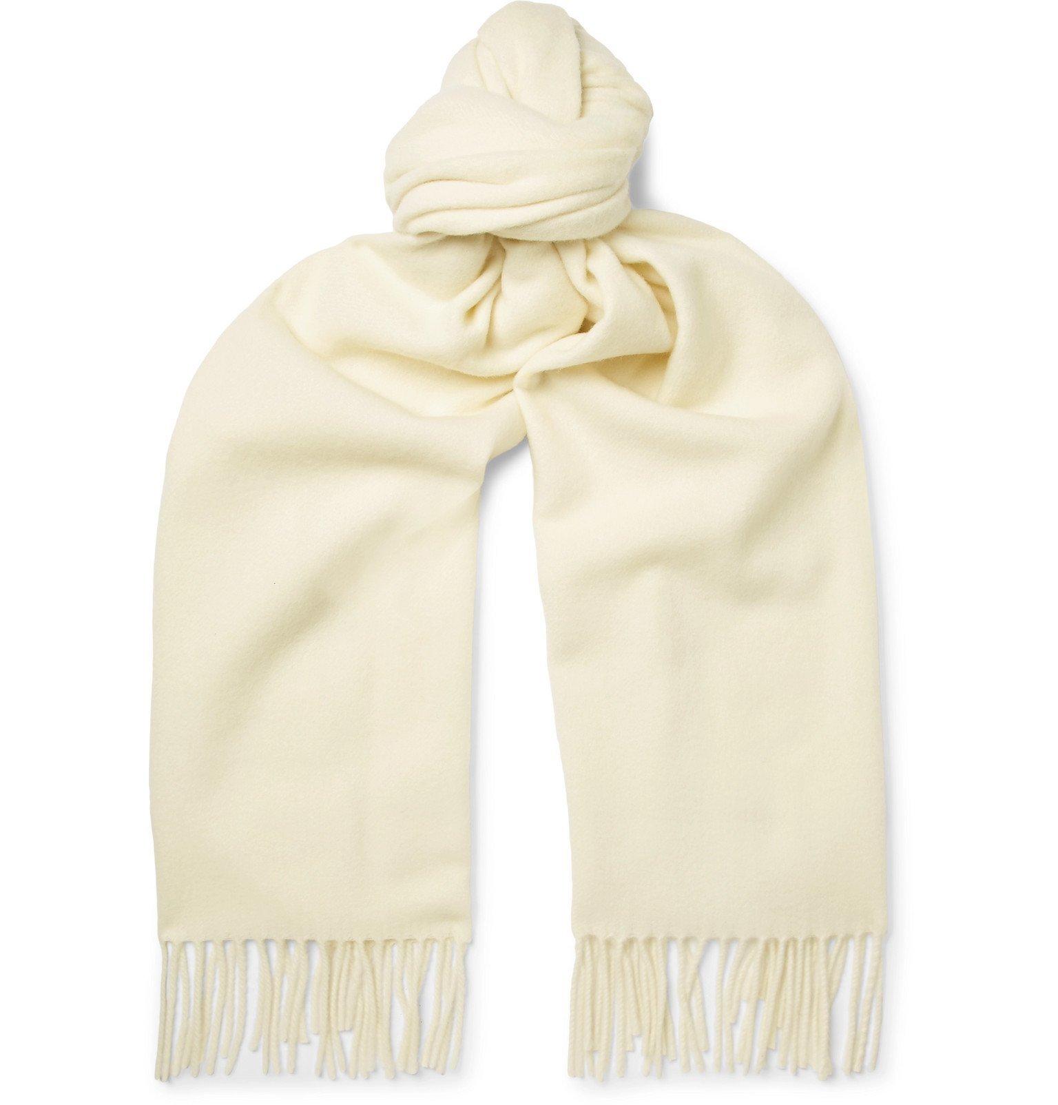 Photo: Acne Studios - Canada Narrow Fringed Wool Scarf - White