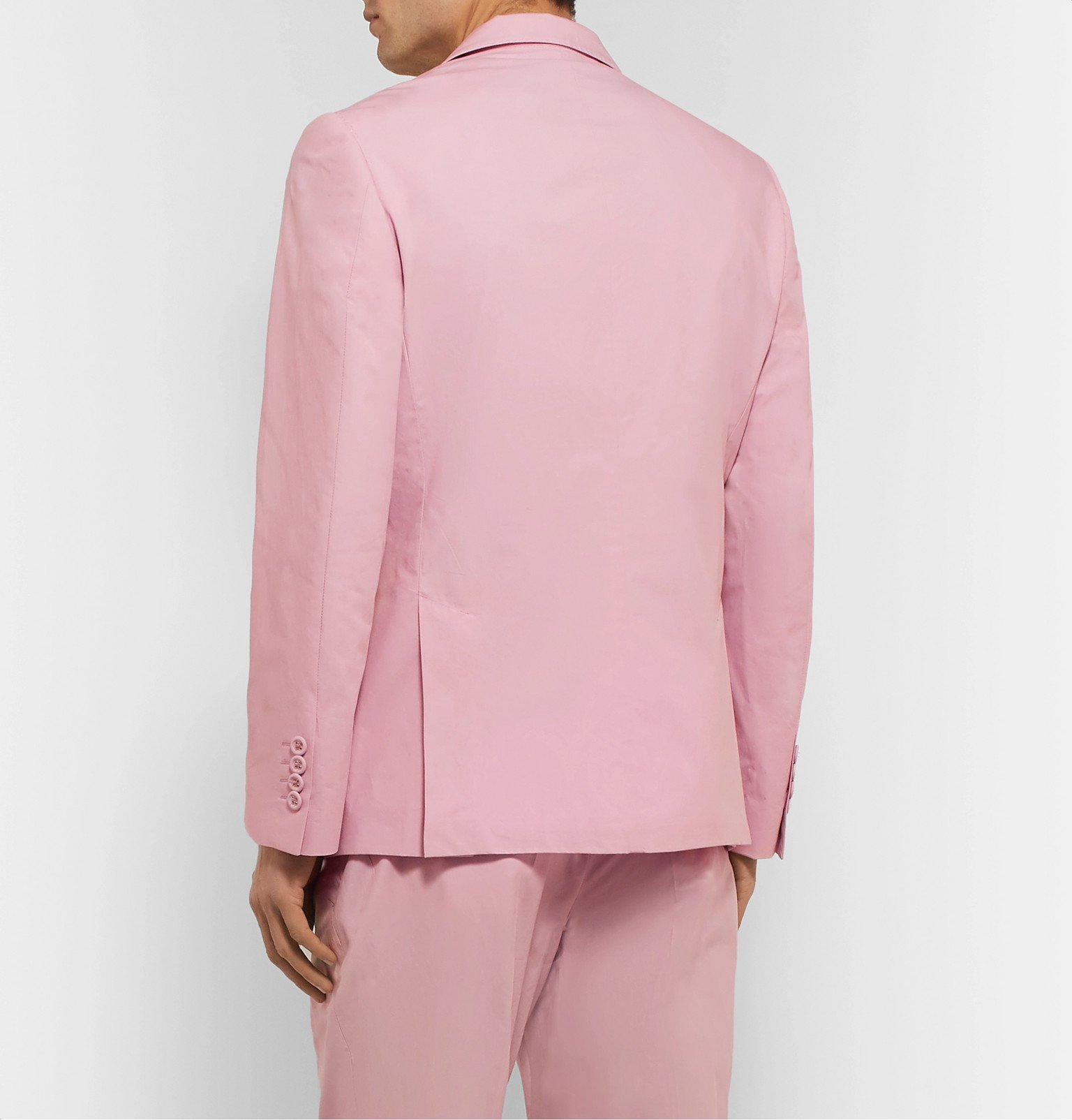 Officine Generale - Leon Unstructured Double-Breasted Cotton-Poplin Suit Jacket - Pink