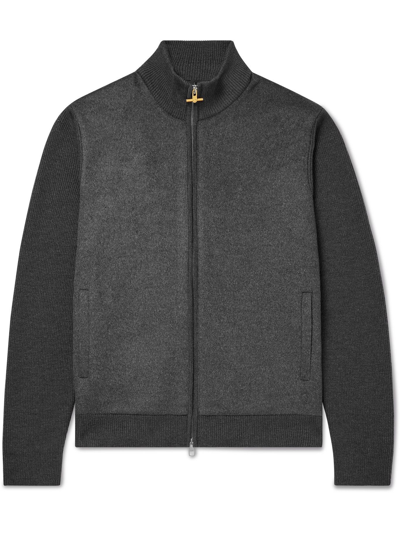 Dunhill - Slim-Fit Panelled Ribbed Merino Wool Jacket - Gray