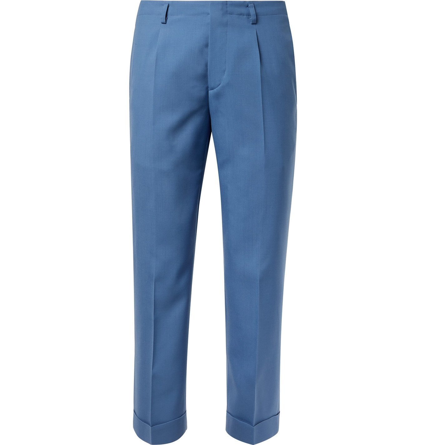 Photo: Givenchy - Cropped Pleated Wool Suit Trousers - Blue
