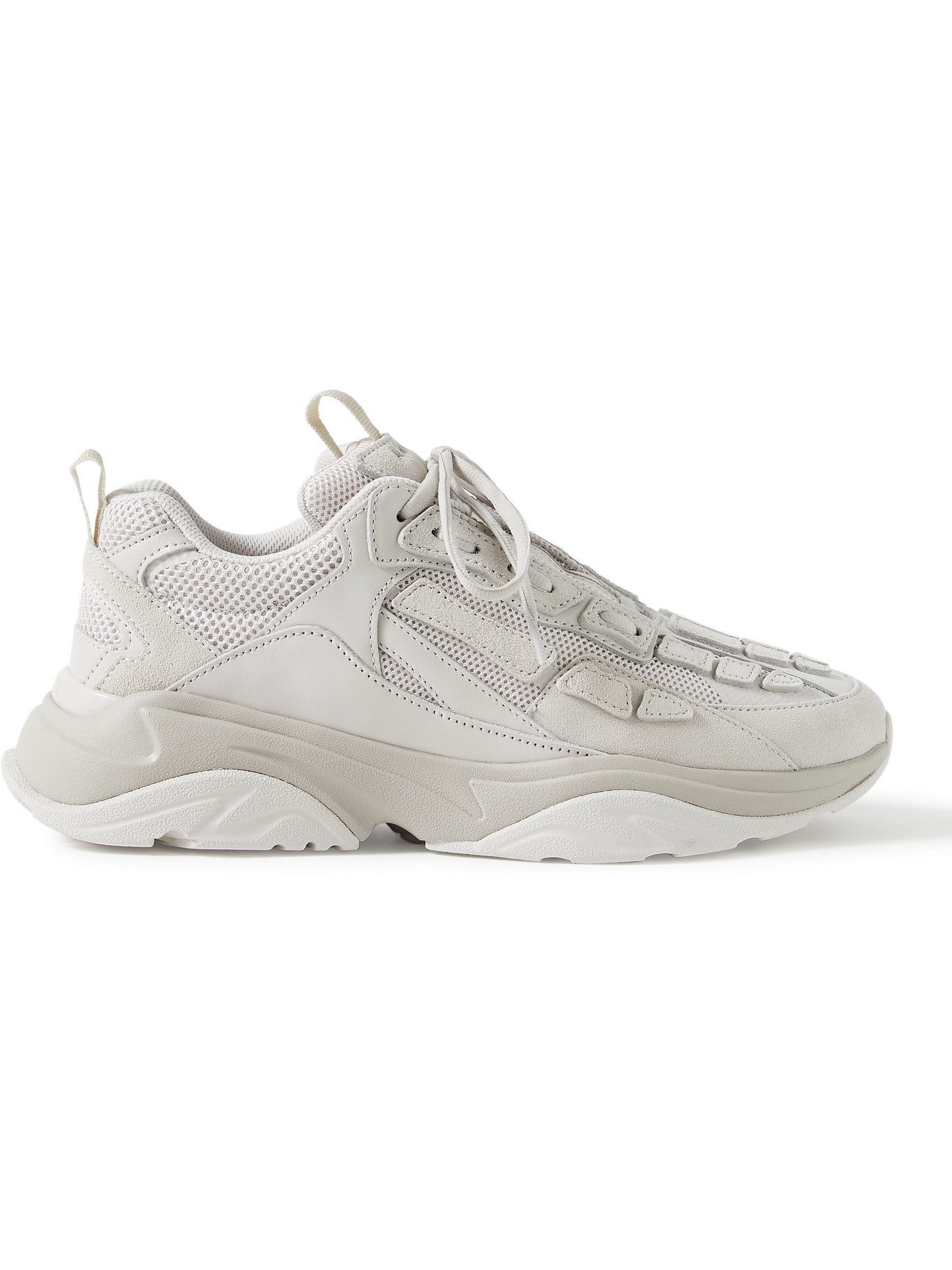 Photo: AMIRI - Bone Runner Leather and Suede-Trimmed Mesh Sneakers - Gray