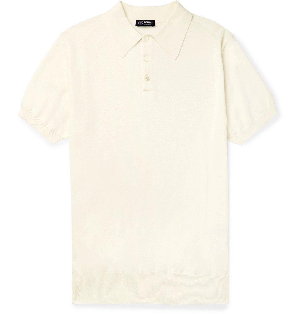 Beams F - Slim-Fit Cotton Polo Shirt - Men - Off-white