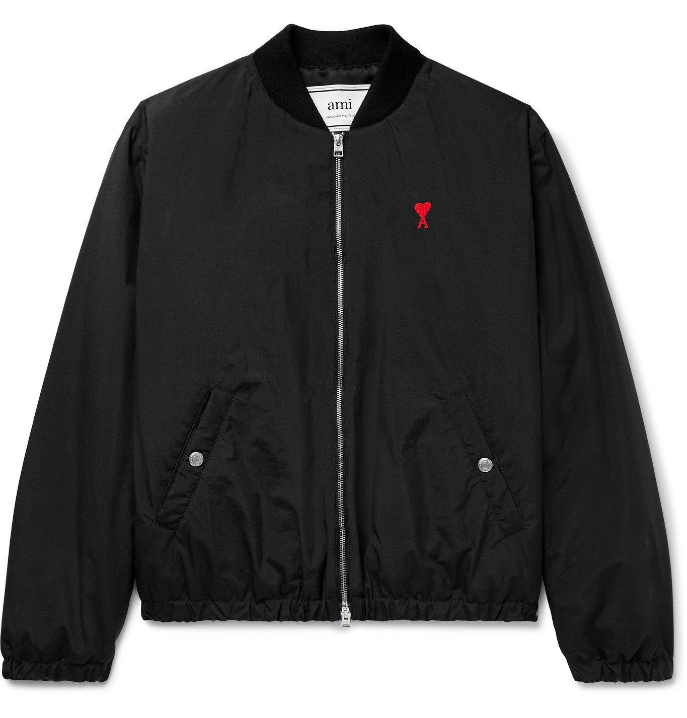 Photo: AMI - Logo-Embroidered Nylon Bomber Jacket - Black