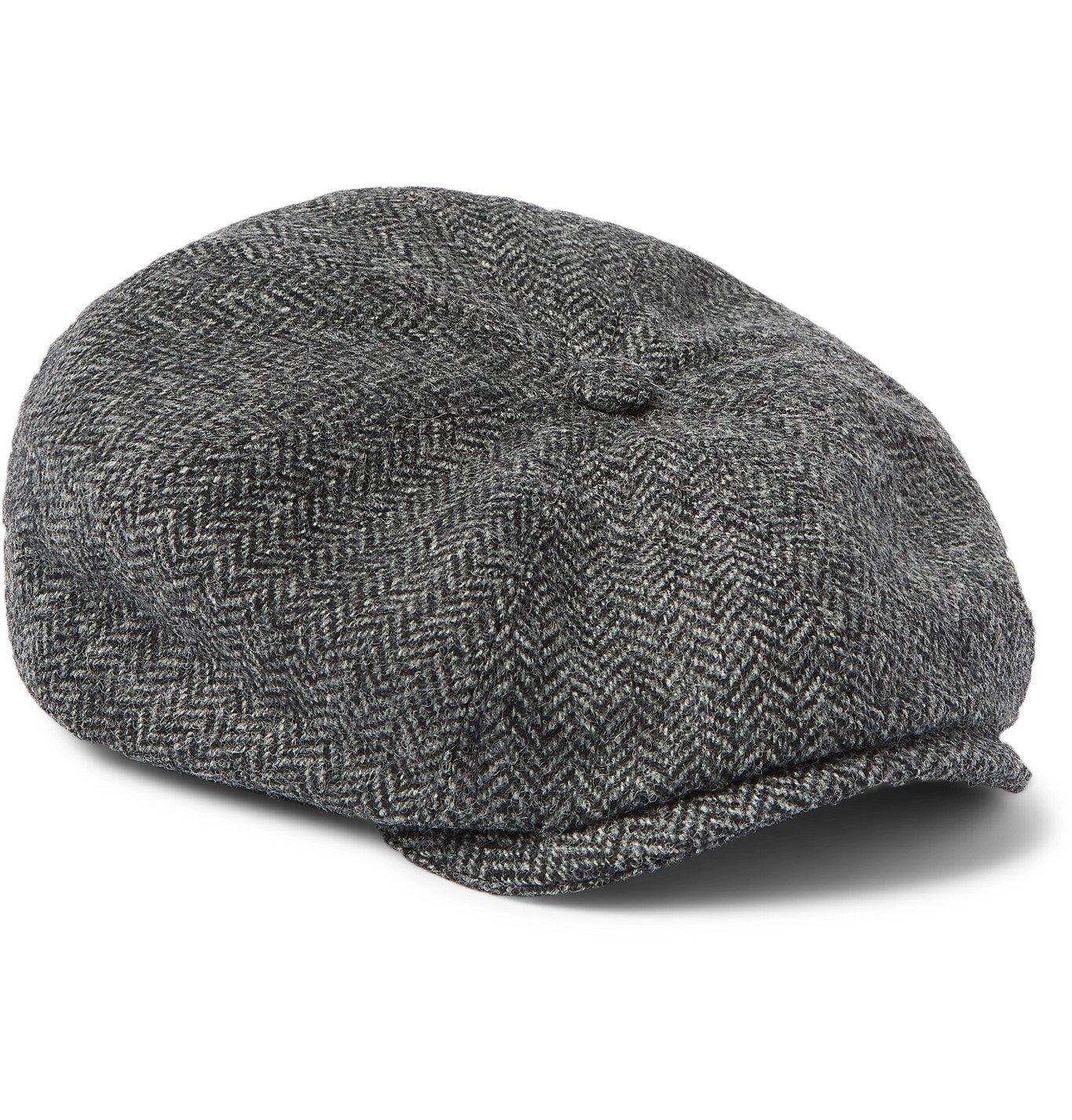 Photo: Purdey - York Bakerboy Herringbone Wool-Tweed Flat Cap - Gray