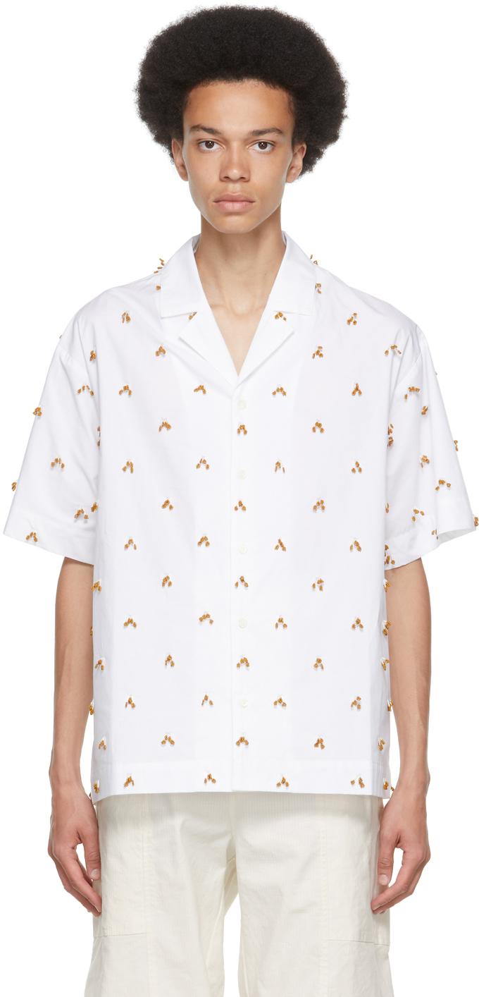 Photo: Jacquemus White & Brown 'La Chemise Blé' Short Sleeve Shirt
