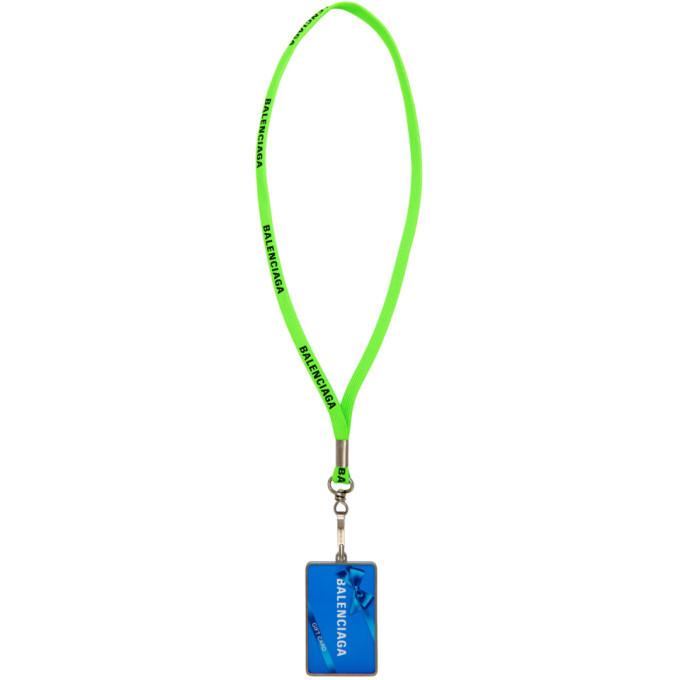Photo: Balenciaga Green Gift Card Badge Necklace