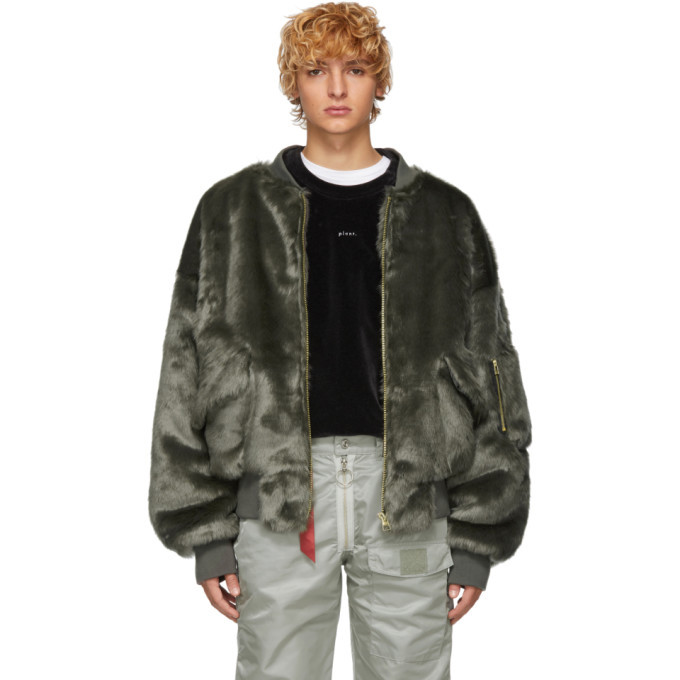 Photo: Landlord Grey Faux-Fur Bomber Jacket