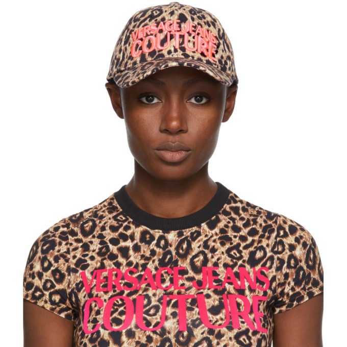 Photo: Versace Jeans Couture Brown and Pink Leopard Logo Cap
