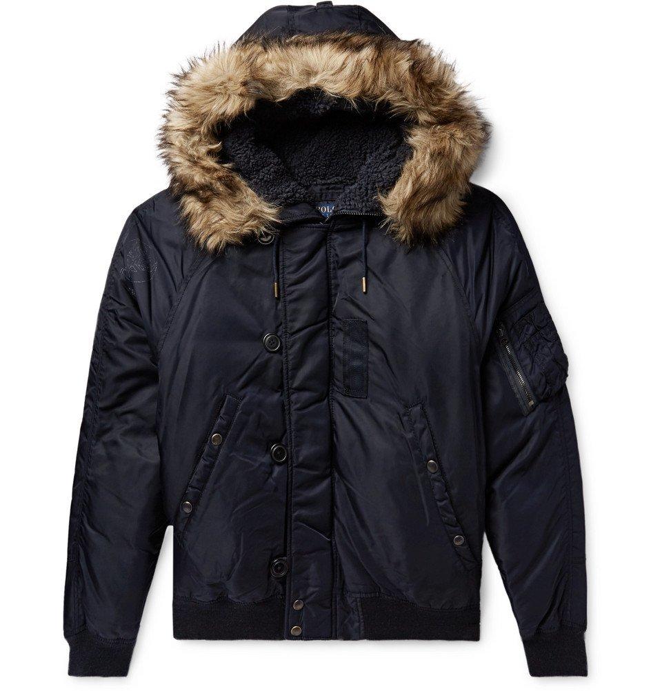 Photo: Polo Ralph Lauren - Faux Fur-Trimmed Nylon-Shell Down Bomber Jacket - Navy