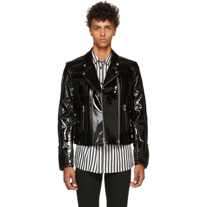 Photo: Balmain Black Varnished Leather Jacket