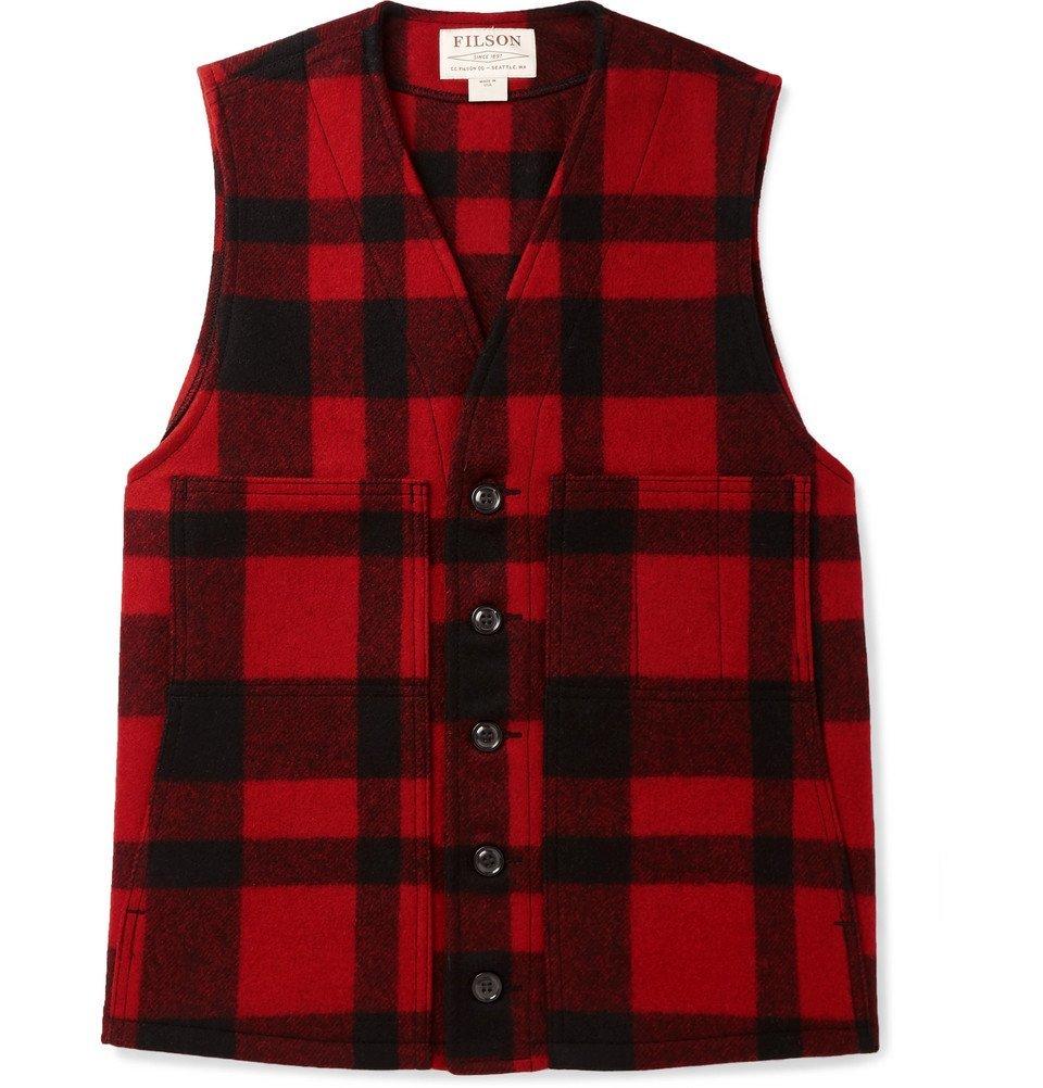 Filson - Checked Mackinaw Virgin Wool Gilet - Men - Red