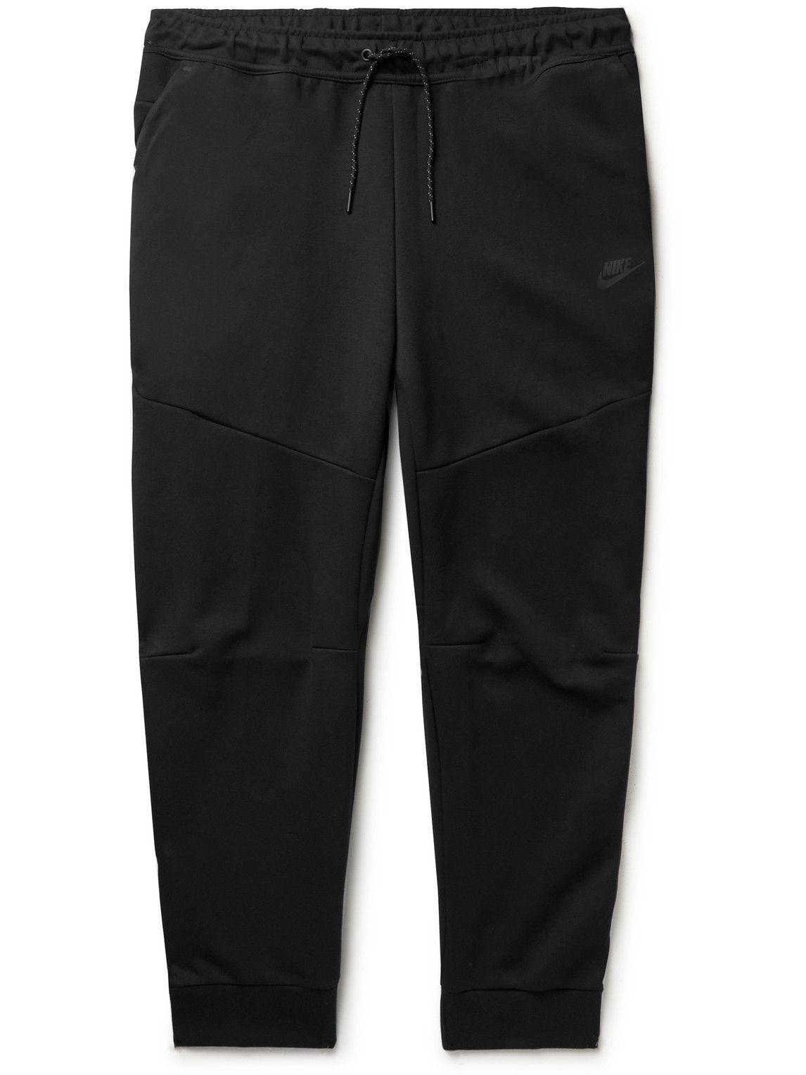 Photo: Nike - Sportswear Tapered Logo-Print Cotton-Blend Tech-Fleece Sweatpants - Black