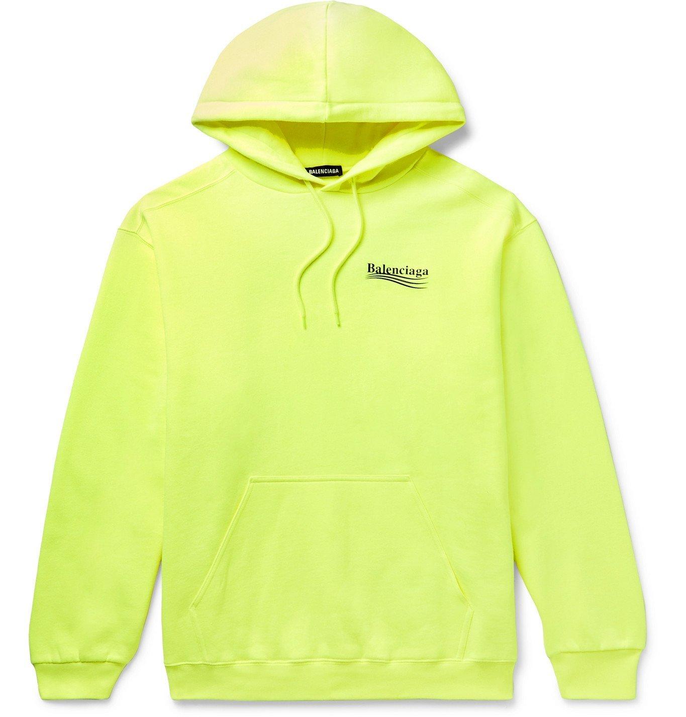 Photo: BALENCIAGA - Logo-Print Fleece-Back Cotton-Jersey Hoodie - Yellow