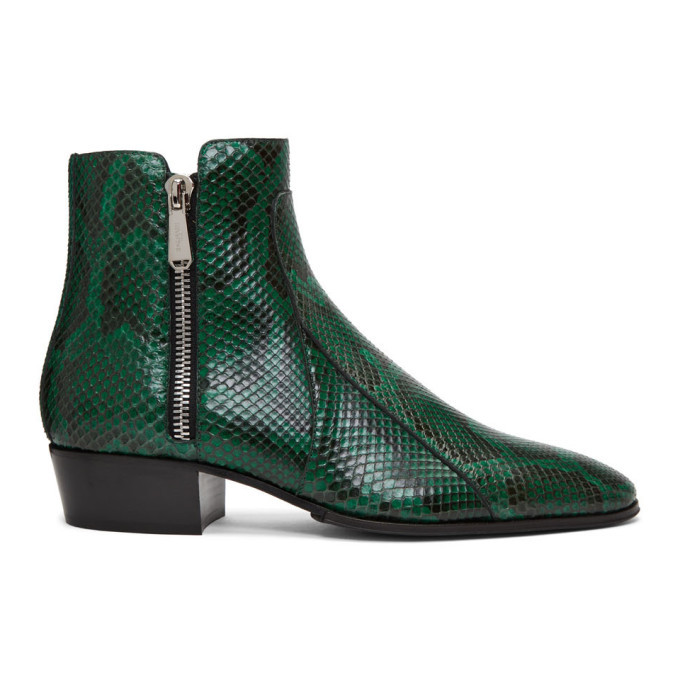 Photo: Balmain Green and Black Python Mike Boots