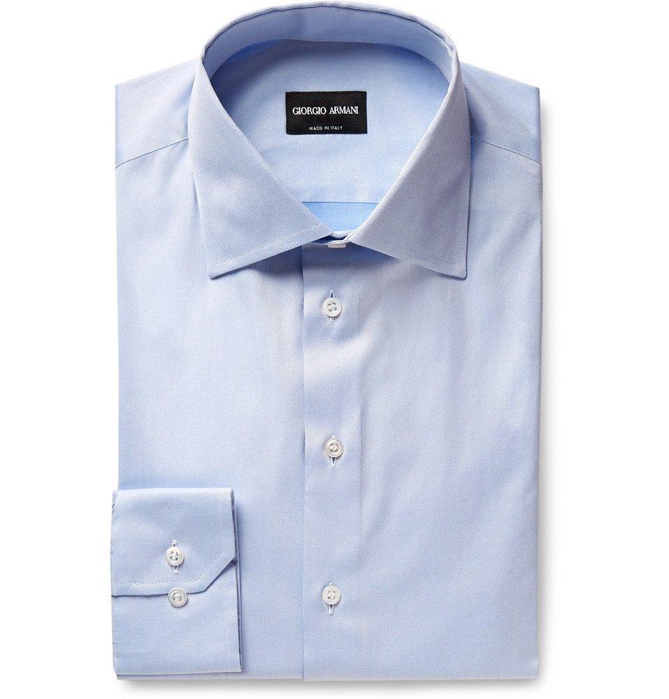 Photo: Giorgio Armani - Light-Blue Cotton-Twill Shirt - Men - Light blue