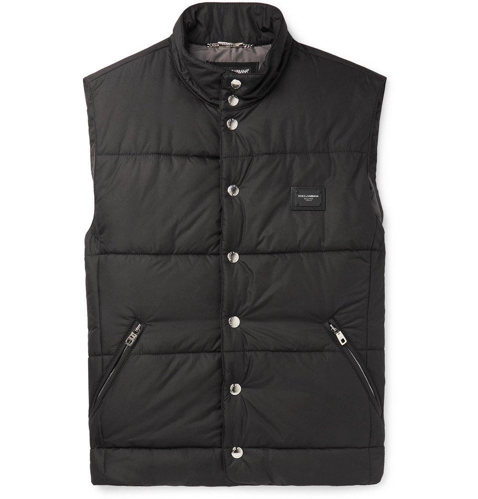 Photo: Dolce & Gabbana - Slim-Fit Logo-Appliquéd Quilted Shell Gilet - Black