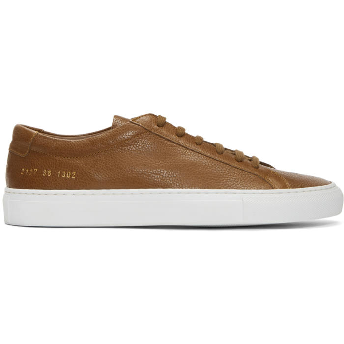 Common Projects Tan and White Original Achilles Low Premium Sneakers