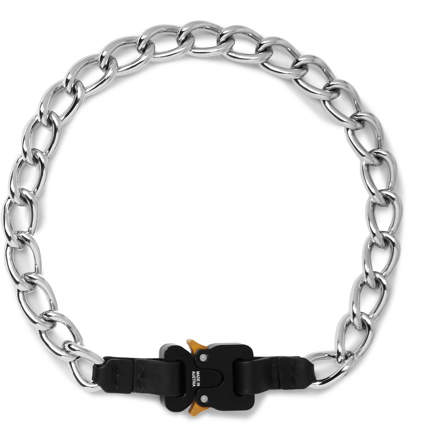 Photo: 1017 ALYX 9SM - Leather-Trimmed Silver-Tone Chain Necklace - Black