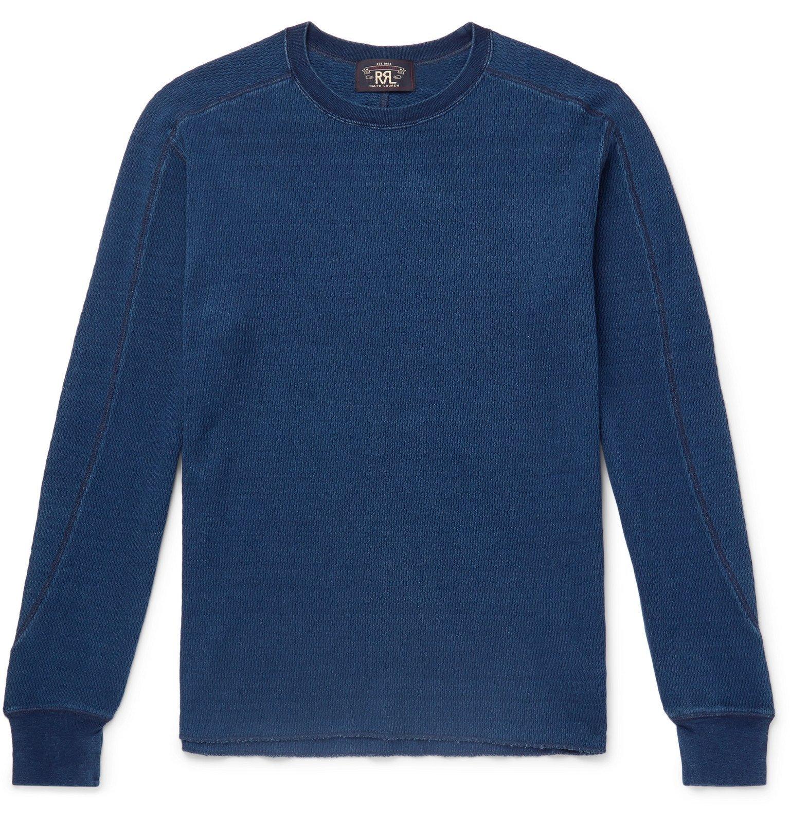 RRL - Slim-Fit Mélange Cotton-Mesh T-Shirt - Blue