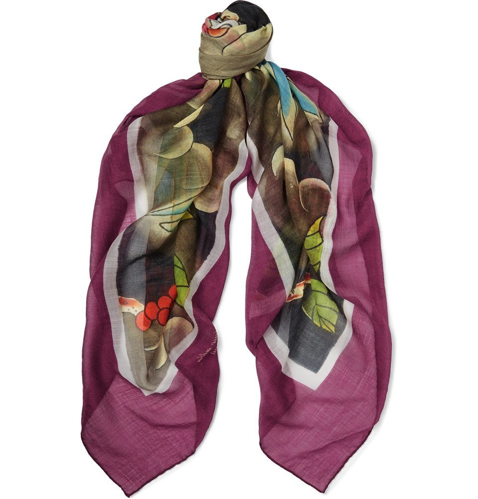 Photo: Massimo Alba - Printed Cashmere, Silk and Wool-Blend Scarf - Purple