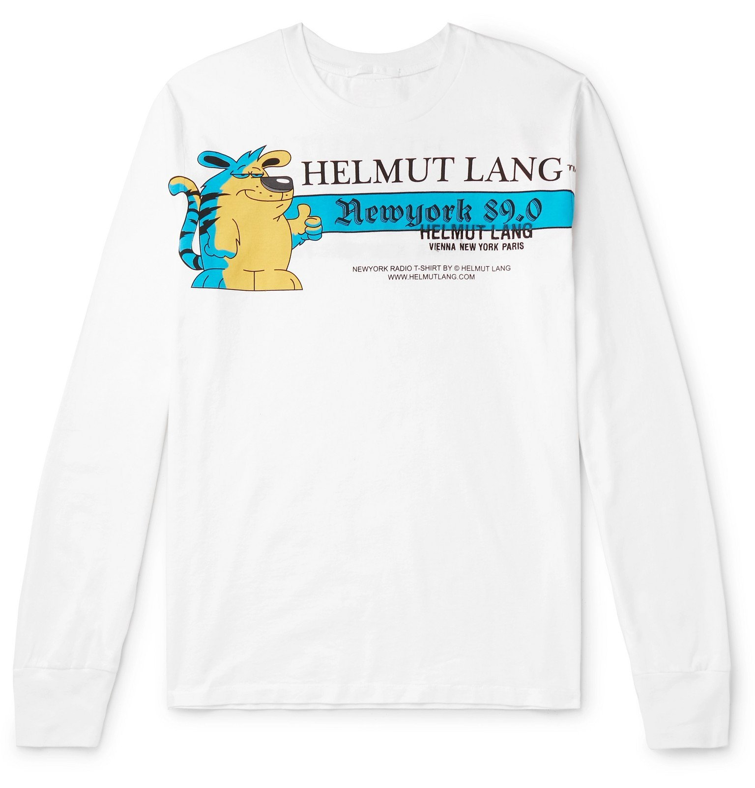 Photo: Helmut Lang - Logo-Embroidered Printed Cotton-Jersey T-Shirt - White