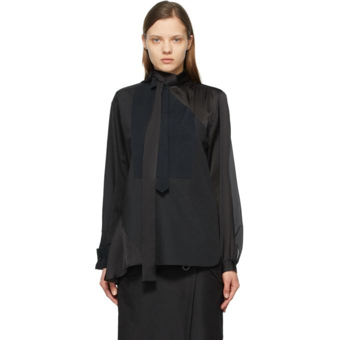 Sacai Black Poplin and Satin Shirt