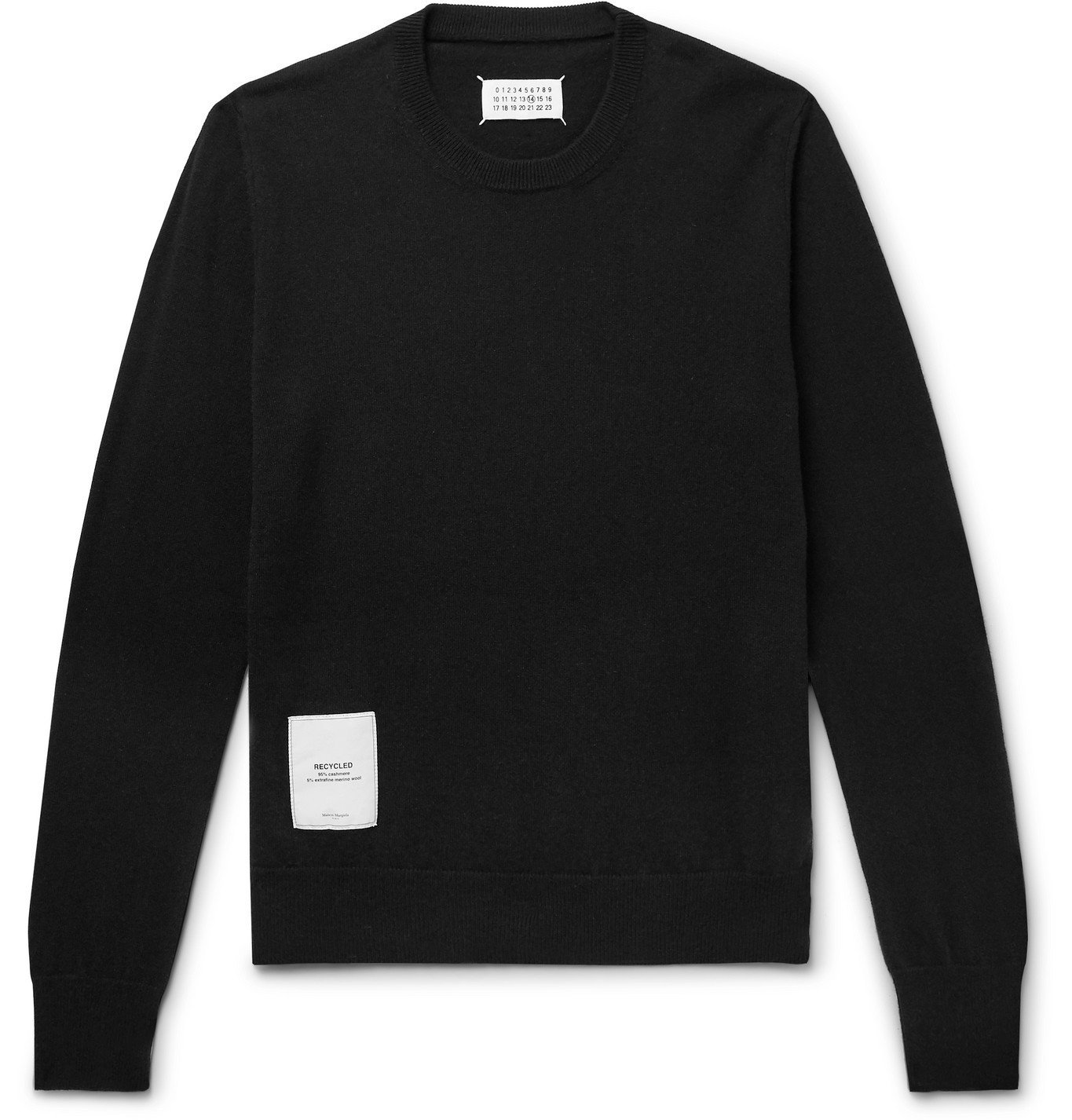 Photo: Maison Margiela - Appliquéd Cashmere and Merino Wool-Blend Sweater - Black