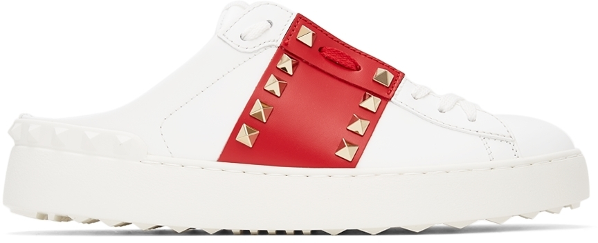 Photo: Valentino Garavani White & Red '11' Rockstud Untitled Slip-On Sneakers