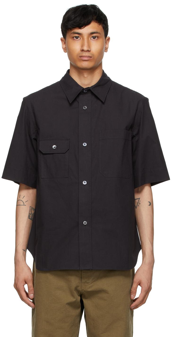 Photo: Margaret Howell Black Odd Pocket Short Sleeve Shirt