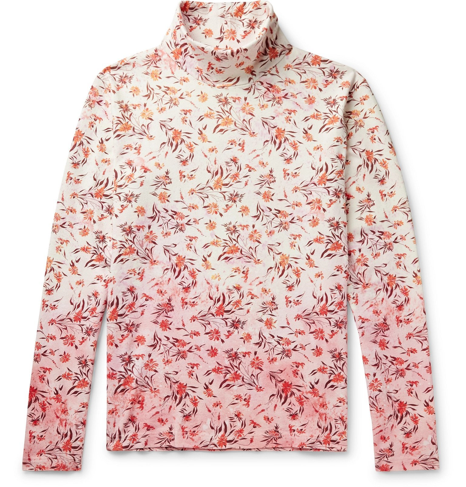 Photo: Acne Studios - Emilio Floral-Print Dégradé Cotton Rollneck T-Shirt - Pink