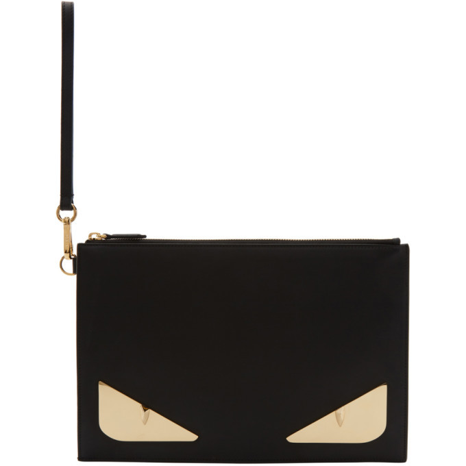 Photo: Fendi Black and Gold Bag Bugs Pouch