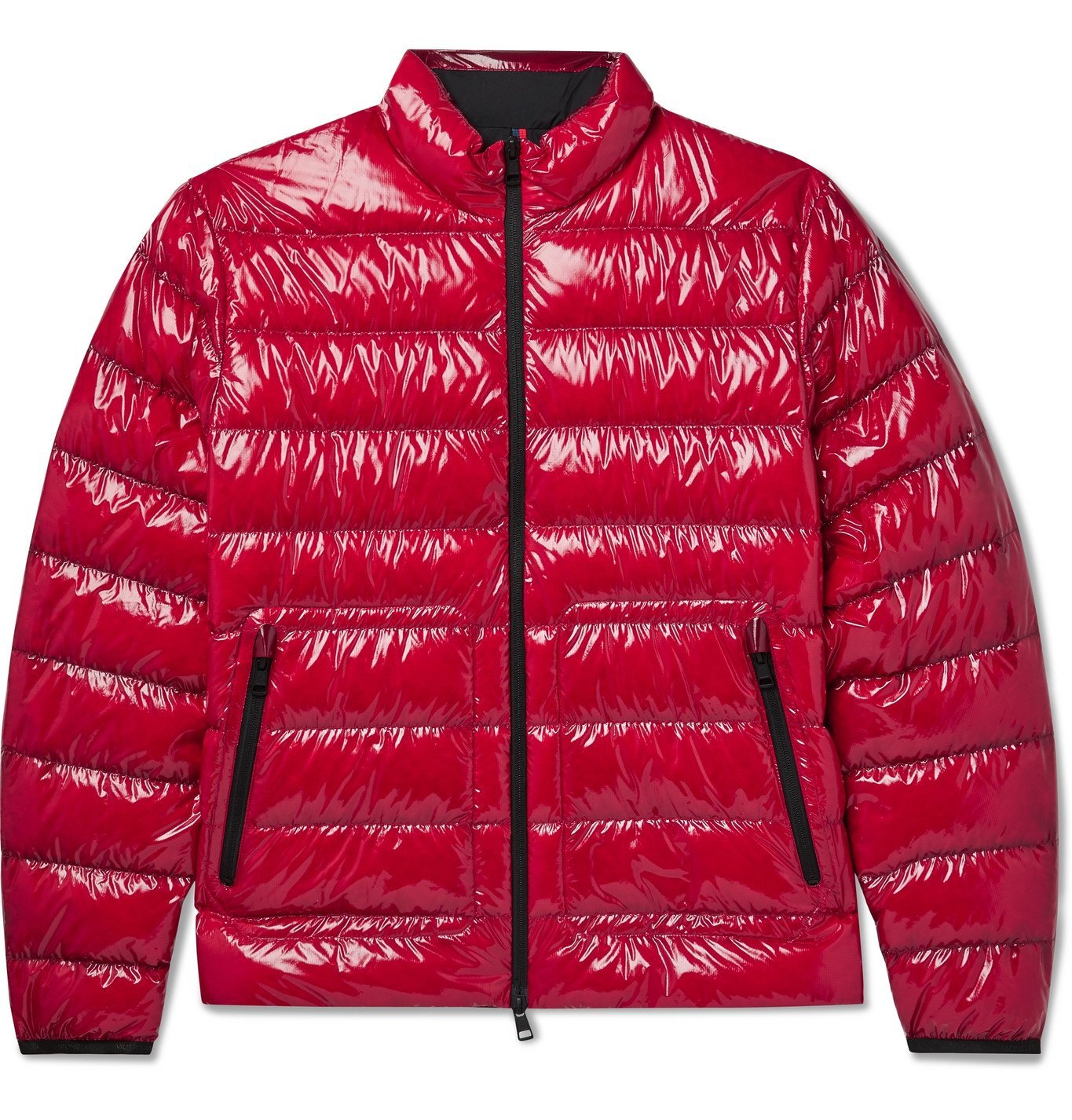 Photo: MONCLER - Agar Logo-Appliquéd Quilted Glossed-Ripstop Down Jacket - Red