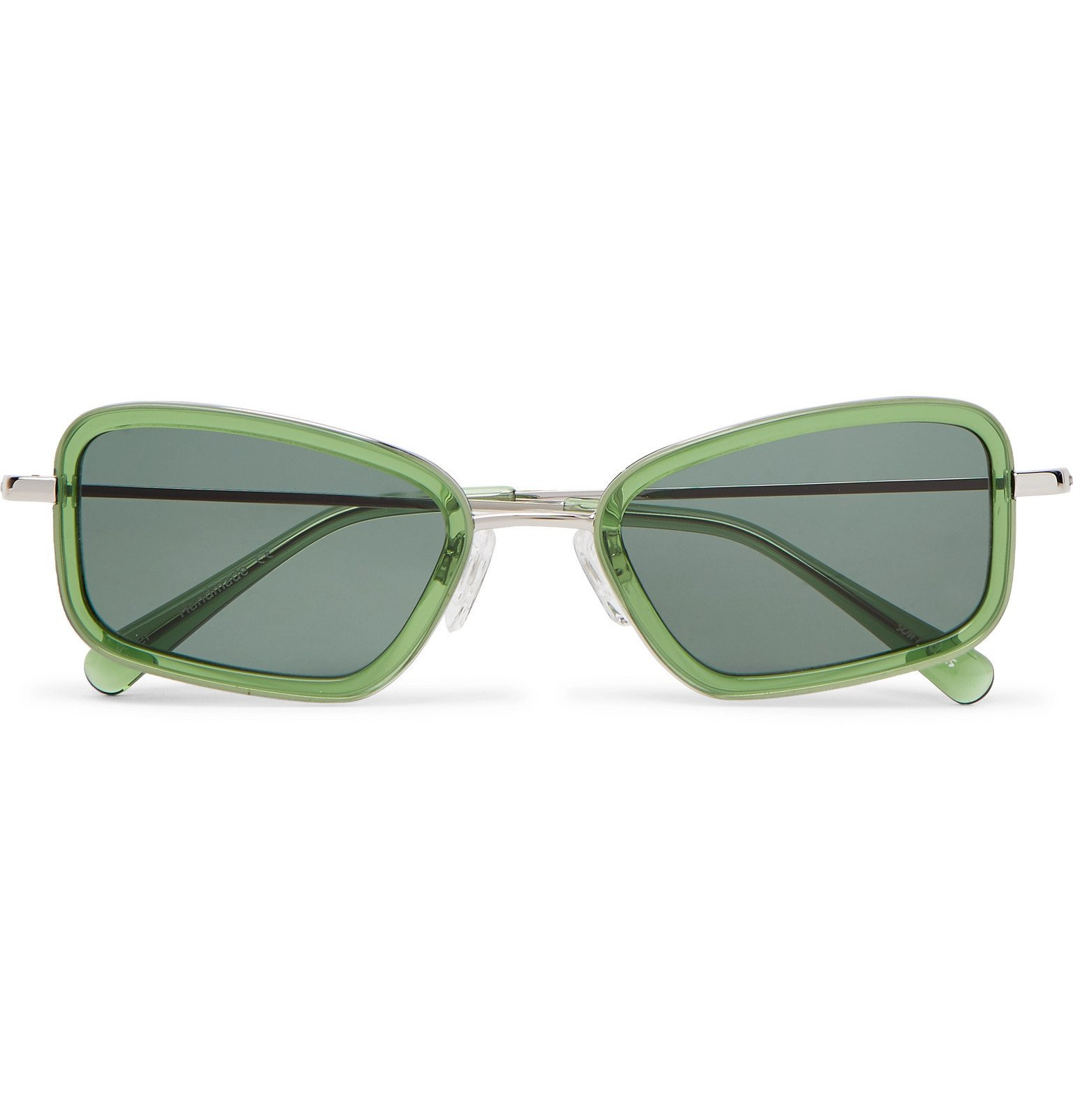 Photo: Sun Buddies - River Rectangle-Frame Acetate and Silver-Tone Sunglasses - Green