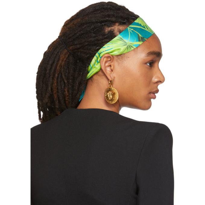 Versace Green and Blue Tropic Print Headband