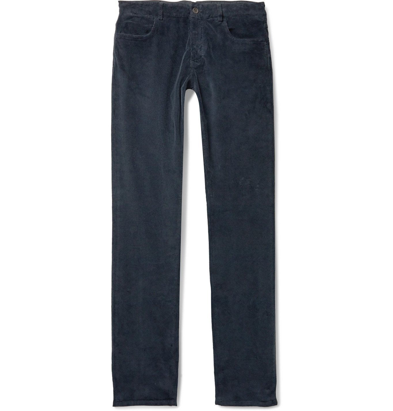 Photo: Canali - Slim-Fit Stretch Cotton and Modal-Blend Corduroy Trousers - Blue