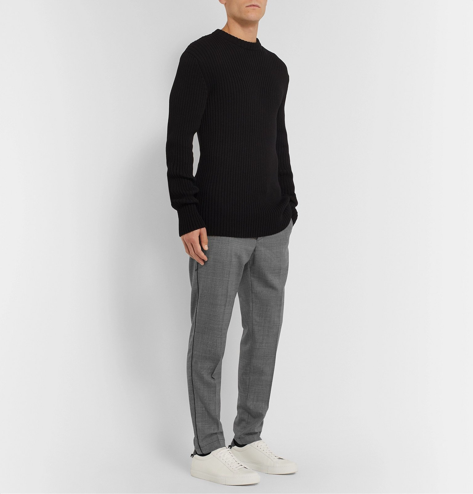 Dolce & Gabbana - Grey Tapered Shell-Trimmed Prince of Wales Checked Wool-Blend Drawstring Trousers - Gray