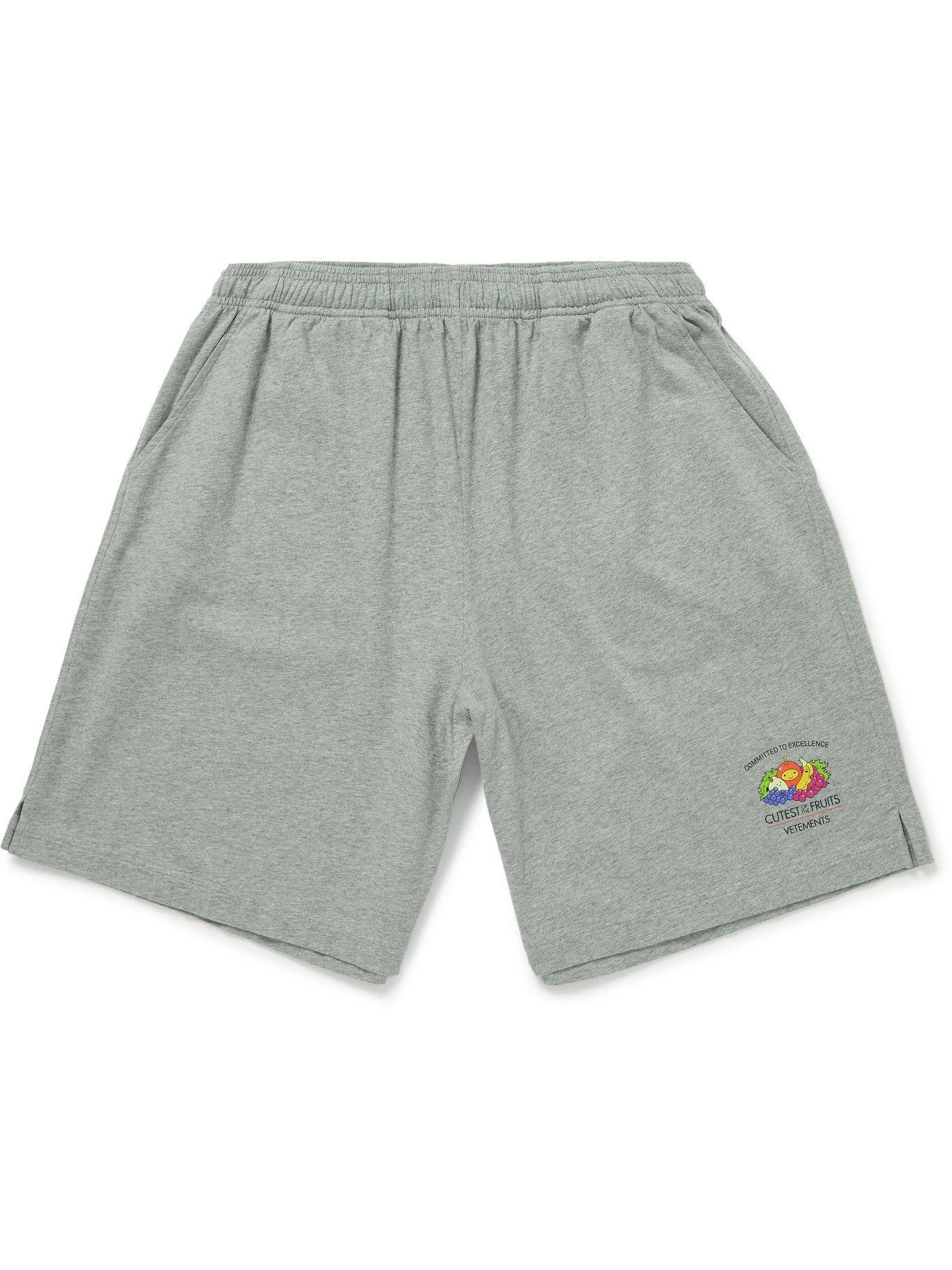 Photo: Vetements - Wide-Leg Printed Cotton-Jersey Shorts - Gray