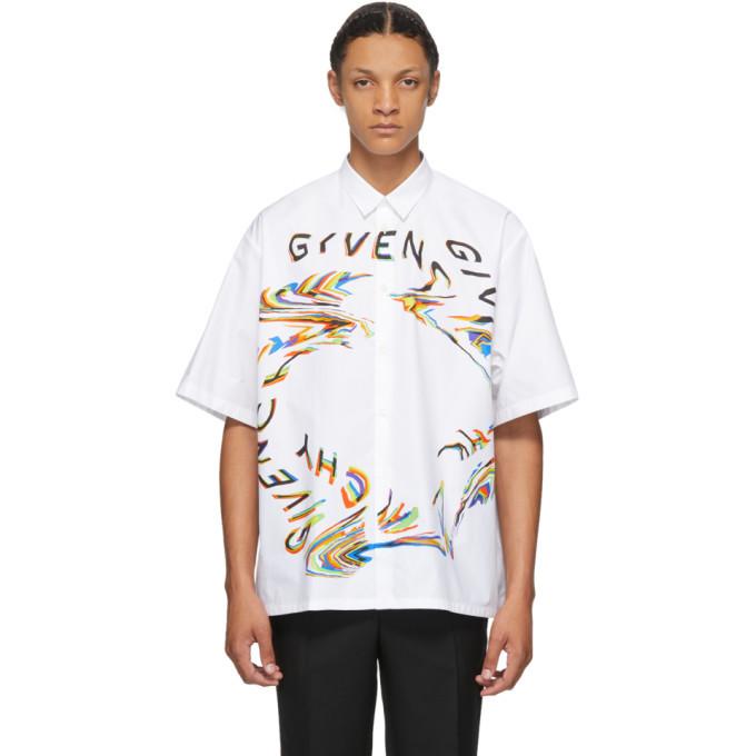 Photo: Givenchy White Glitch Logo Short Sleeve Shirt