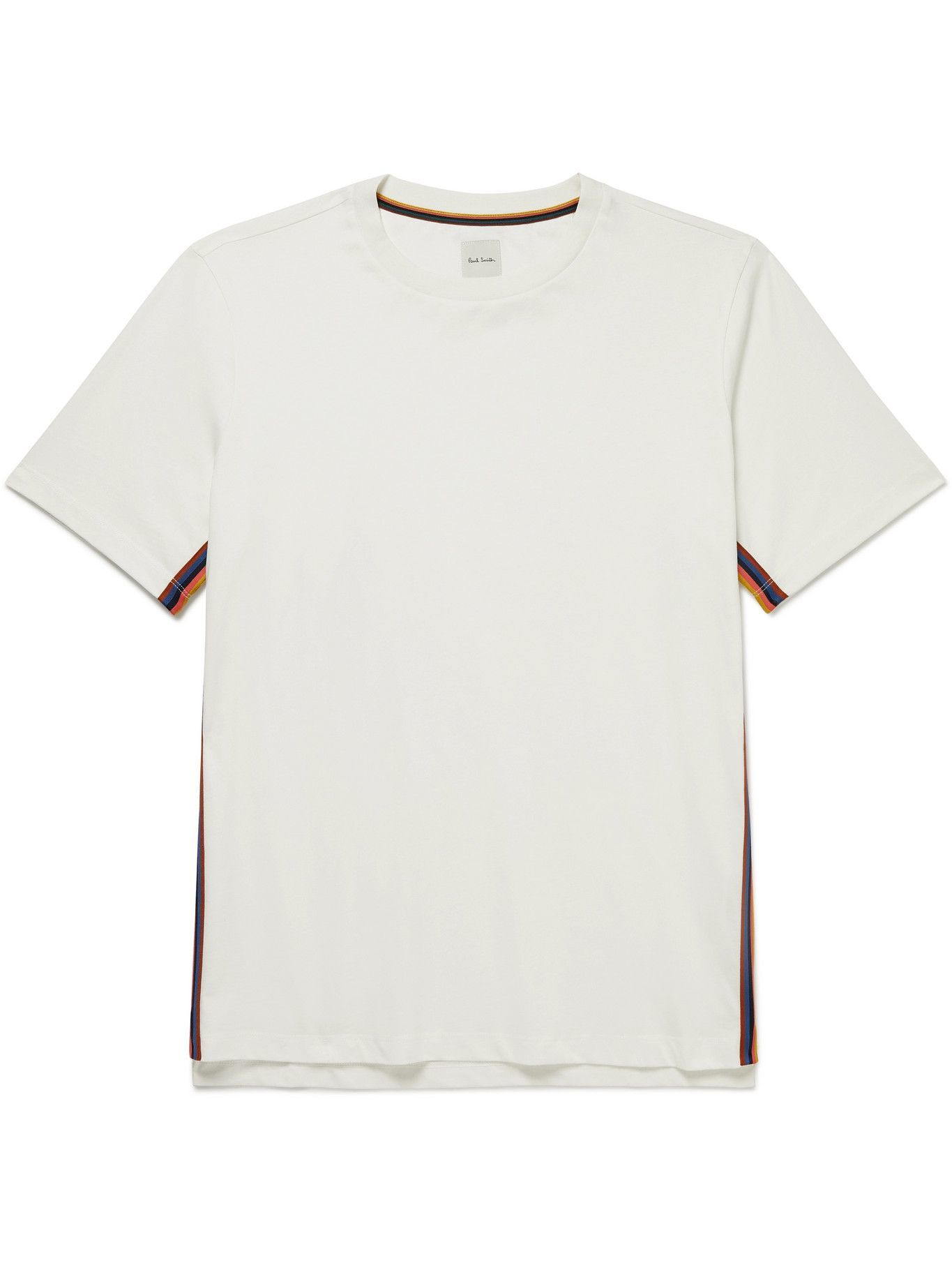 Photo: PAUL SMITH - Striped Webbing-Trimmed Cotton-Jersey T-Shirt - White