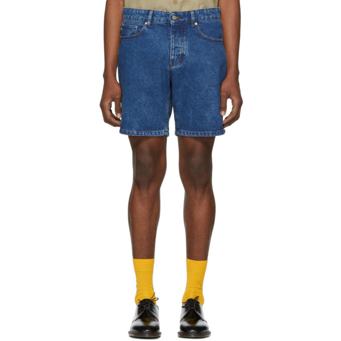 AMI Alexandre Mattiussi SSENSE Exclusive Blue Denim Washed Shorts