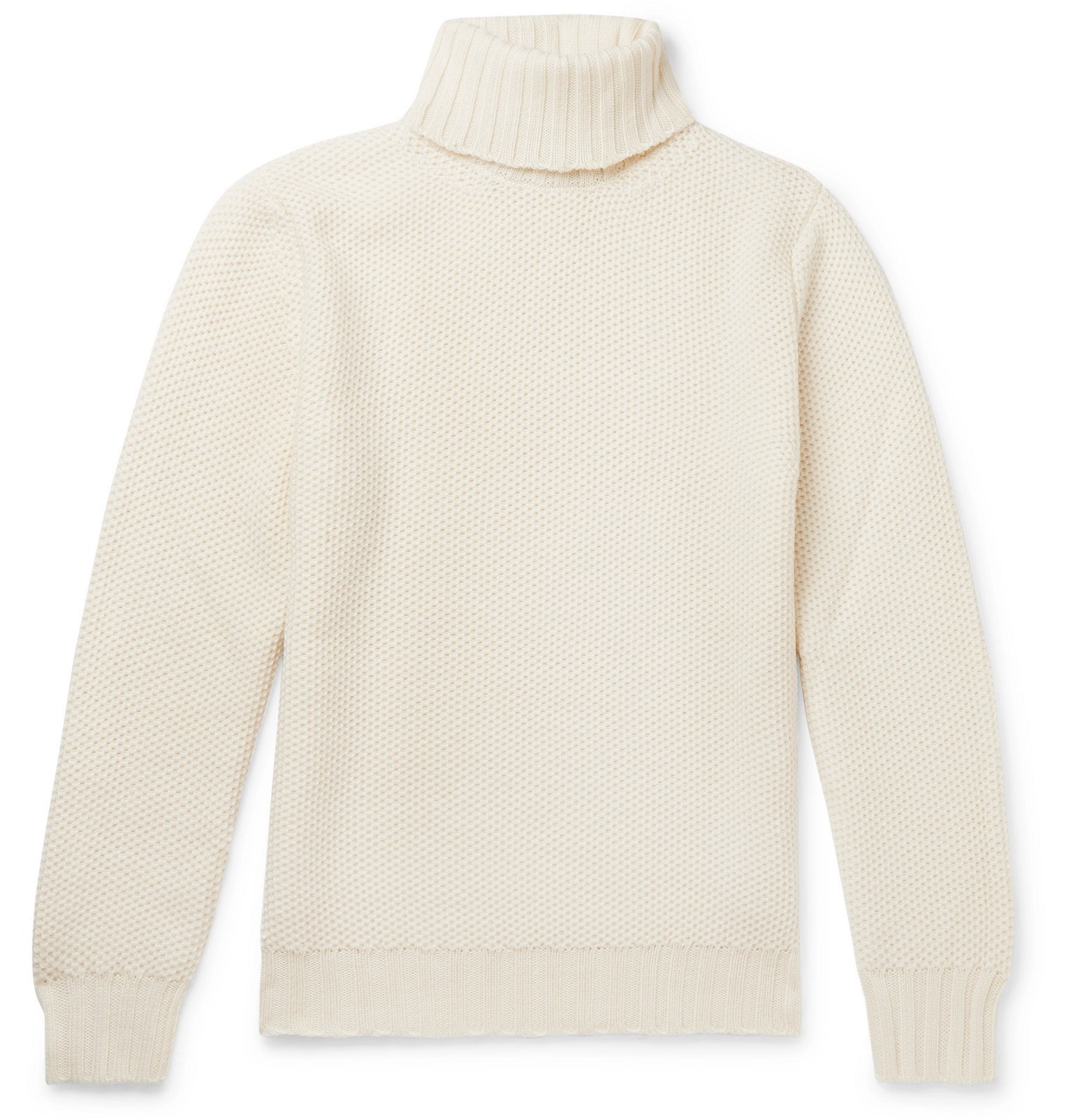 Photo: Beams F - Slim-Fit Honeycomb-Knit Merino Wool Rollneck Sweater - White
