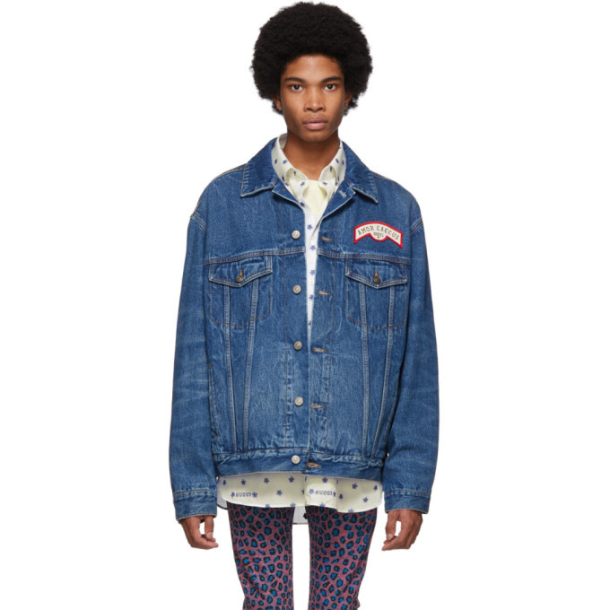 Photo: Gucci Blue Denim Patches Oversized Jacket