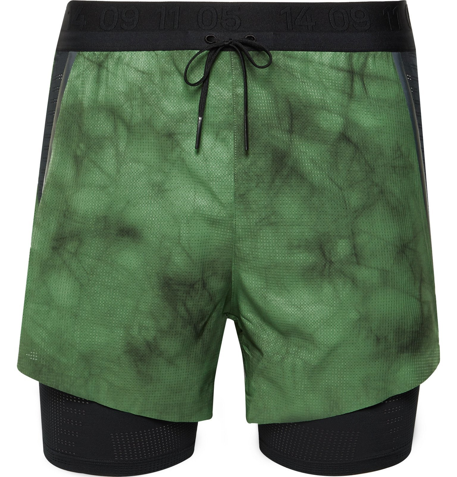 Photo: Nike Running - Tech Pack Slim-Fit 2-in-1 Layered Tie-Dyed Dri-FIT Shorts - Green