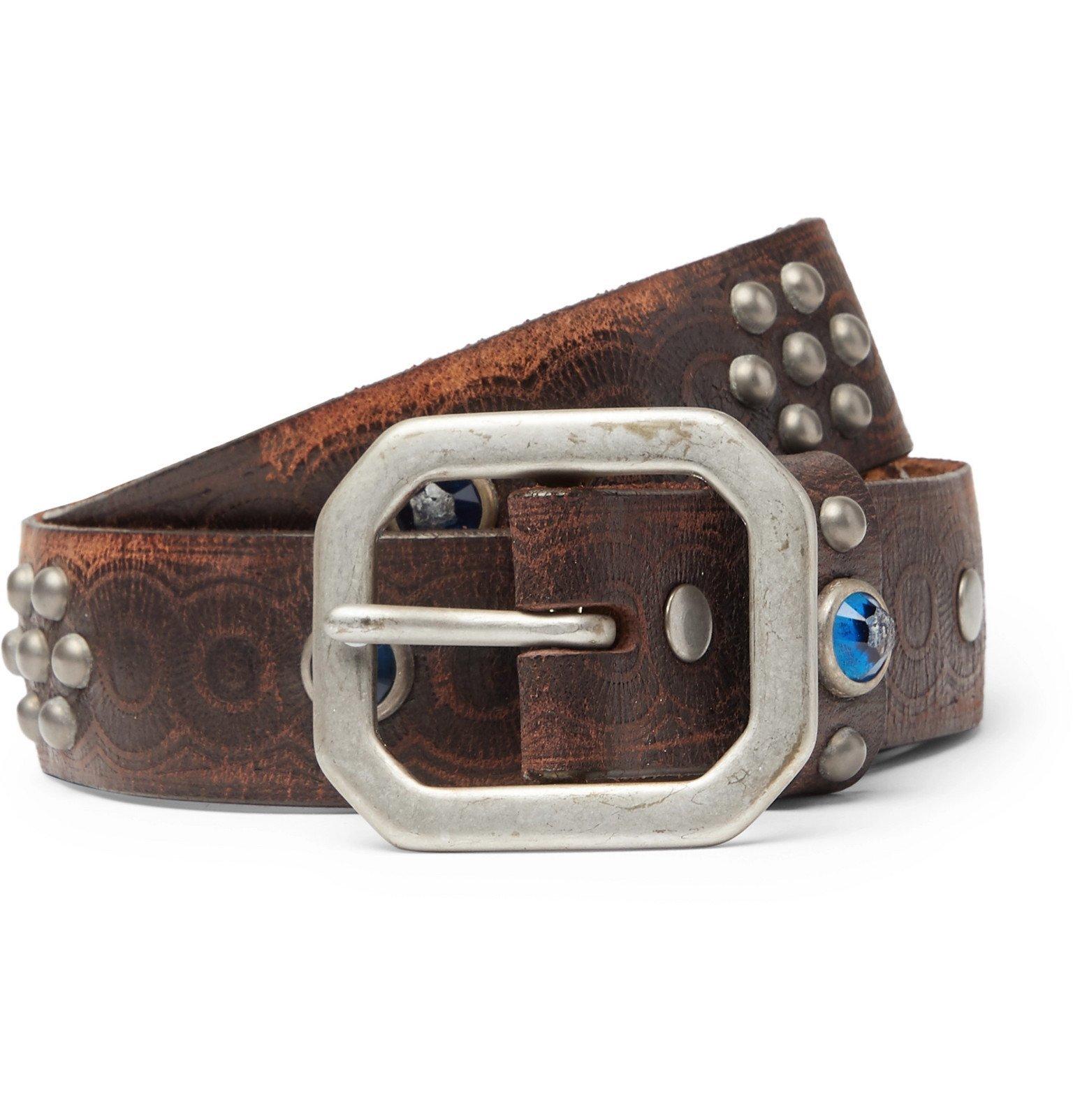 RRL - 3cm Rasco Studded Tumbled-Leather Belt - Brown