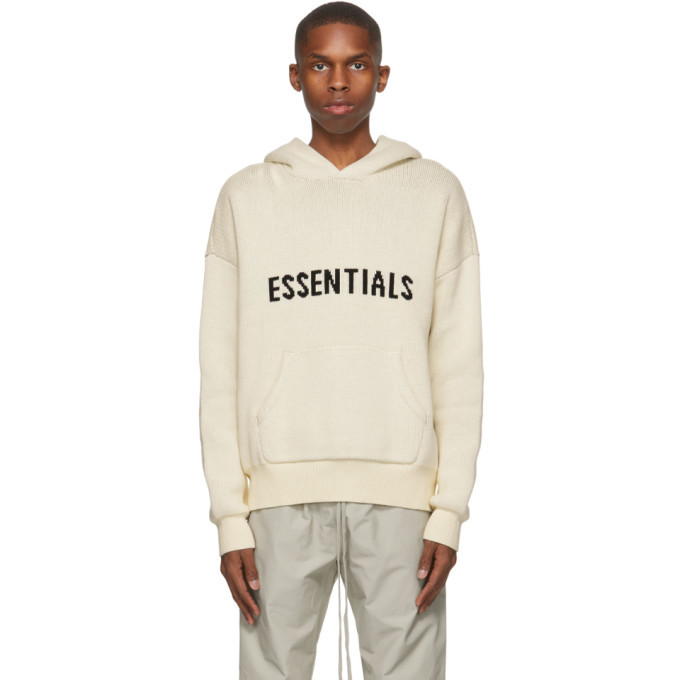 Photo: Essentials Off-White Knit Logo Hoodie