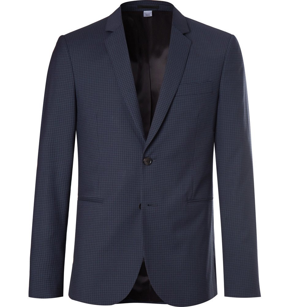 Photo: PS by Paul Smith - Slim-Fit Checked Wool-Blend Suit Jacket - Navy