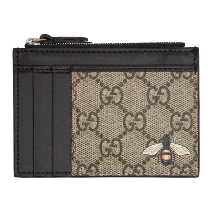 Photo: Gucci Beige GG Bee Zip Card Holder