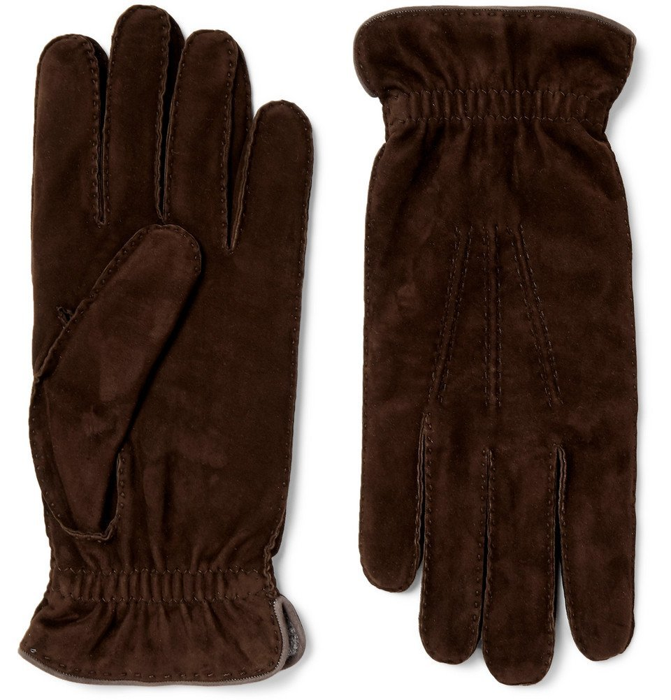 Photo: Brunello Cucinelli - Wool-Lined Suede Gloves - Brown