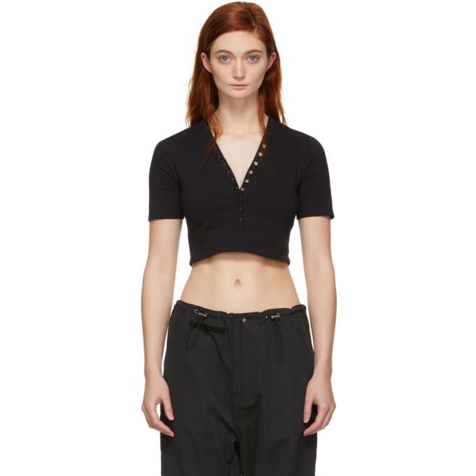 alexanderwang.t Black Cropped Snaps Compact T-Shirt